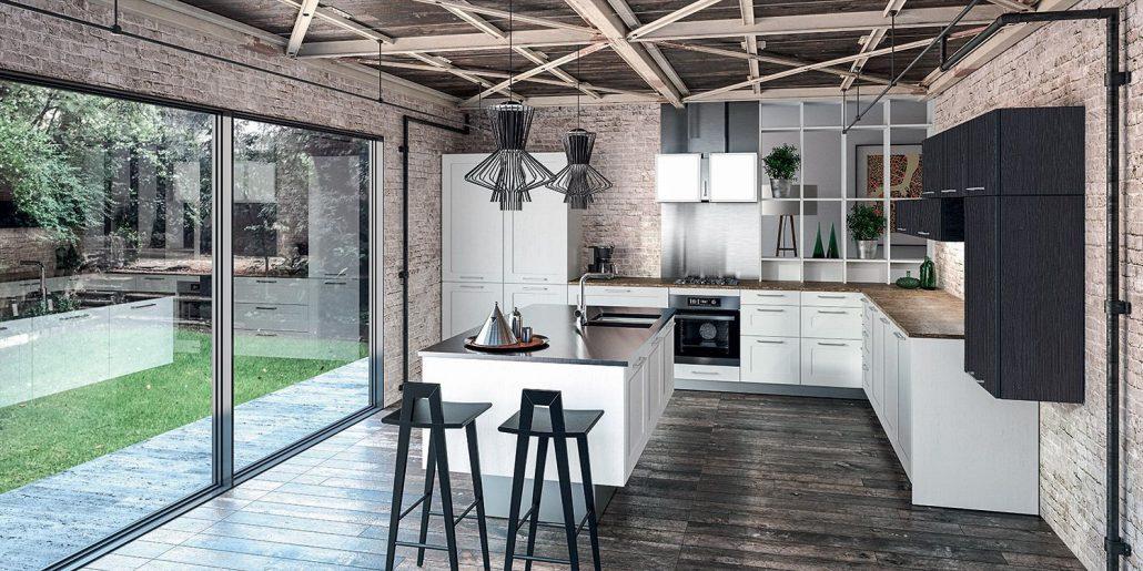 Aravis malm mod le de cuisine bois moderne sagne cuisines - Modele cuisine noir et blanc ...