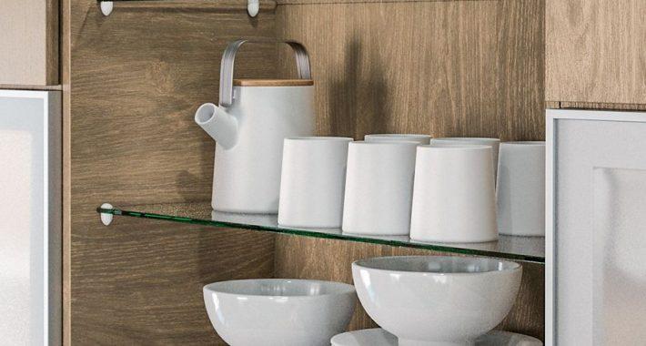 Étagère verre meuble cuisine sur cuisine Méribel