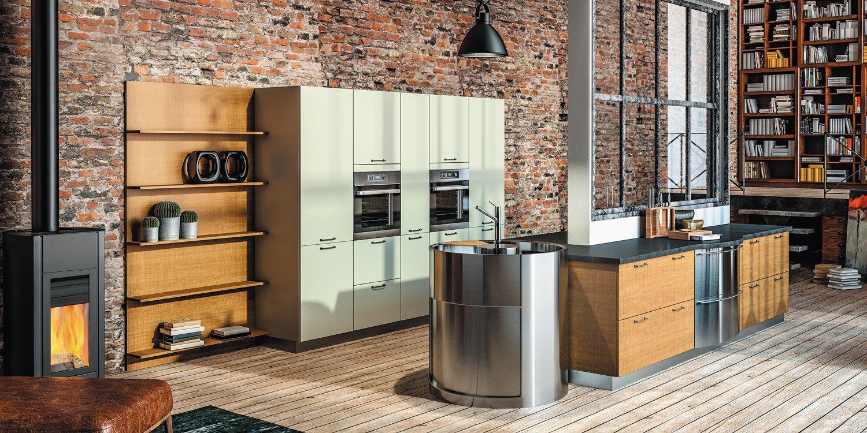 Laclusaz linxia sagne cuisines bois moderne aspect mat - Cuisine moderne blanche et bois ...