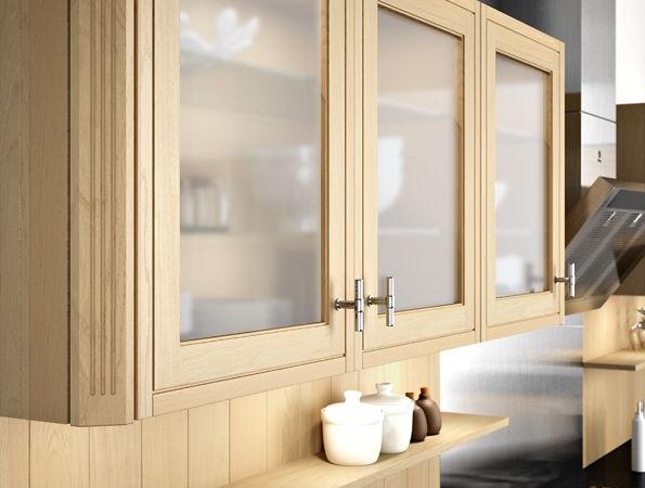 Porte vitrée meuble haut cuisine sur cuisine Loxley