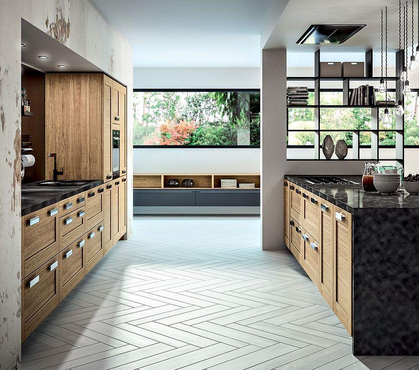 Cuisine bois moderne truro ch ne massif teint - Cuisine bois clair moderne ...