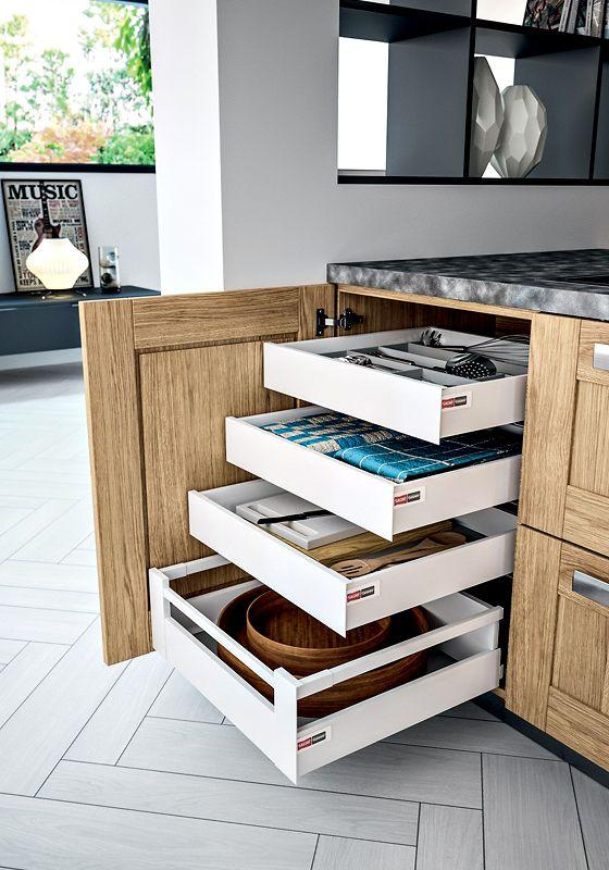 Le casserolier par sagne cuisines - Meuble cuisine avec table integree ...