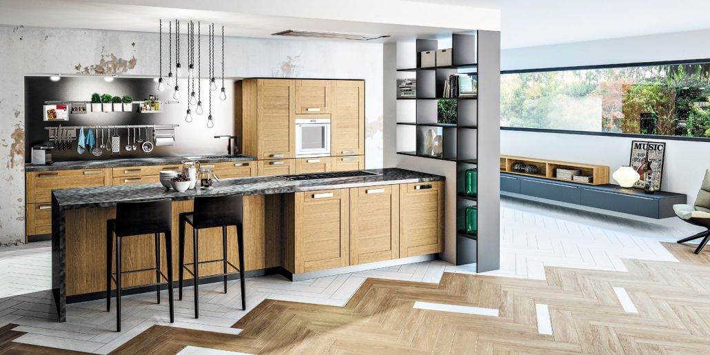 Cuisine bois moderne truro ch ne massif teint - Vaisselle contemporaine moderne ...