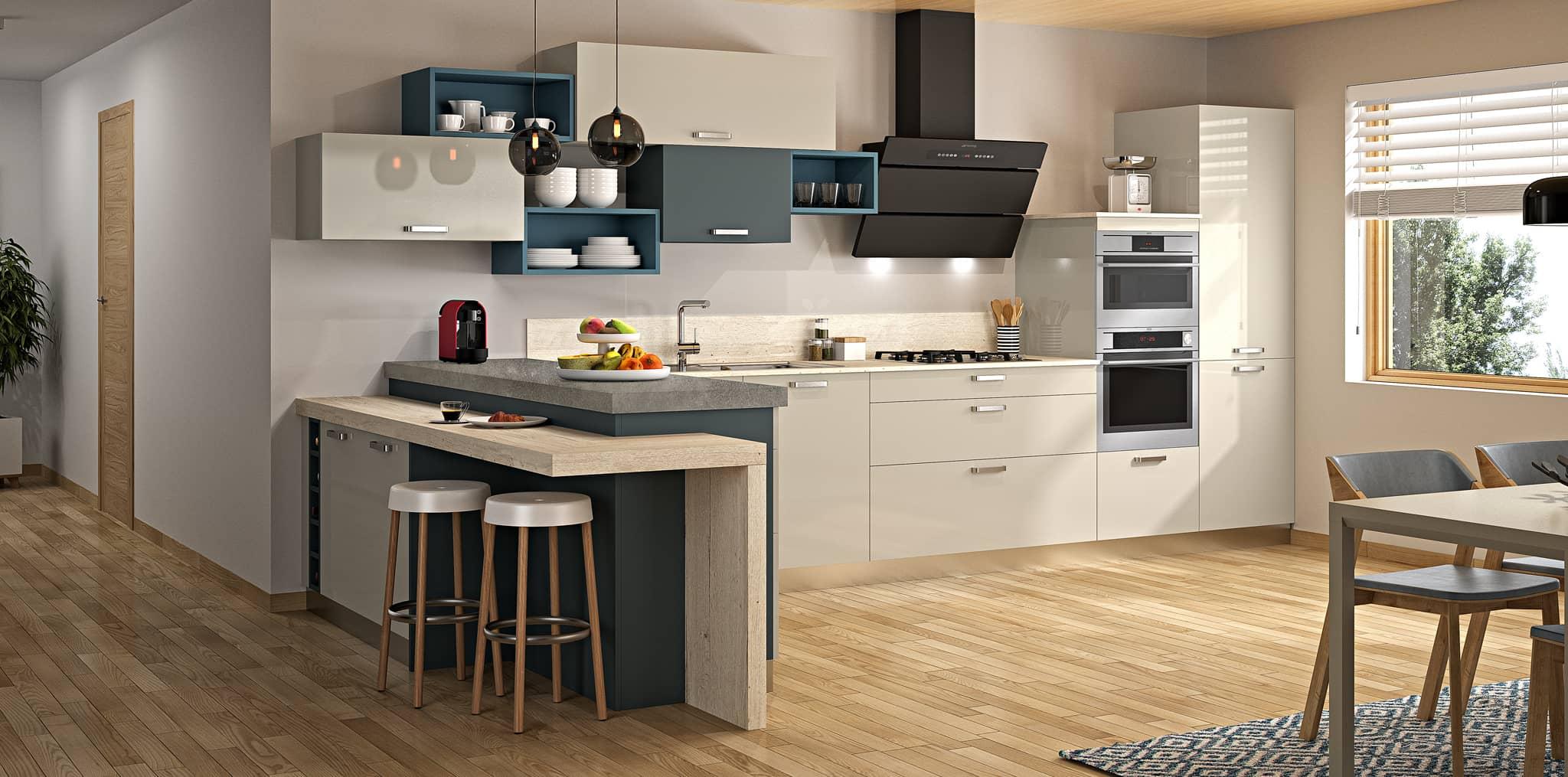 Toile brillante m ribel mod le cuisine bois moderne sagne - Modele plan de travail cuisine ...